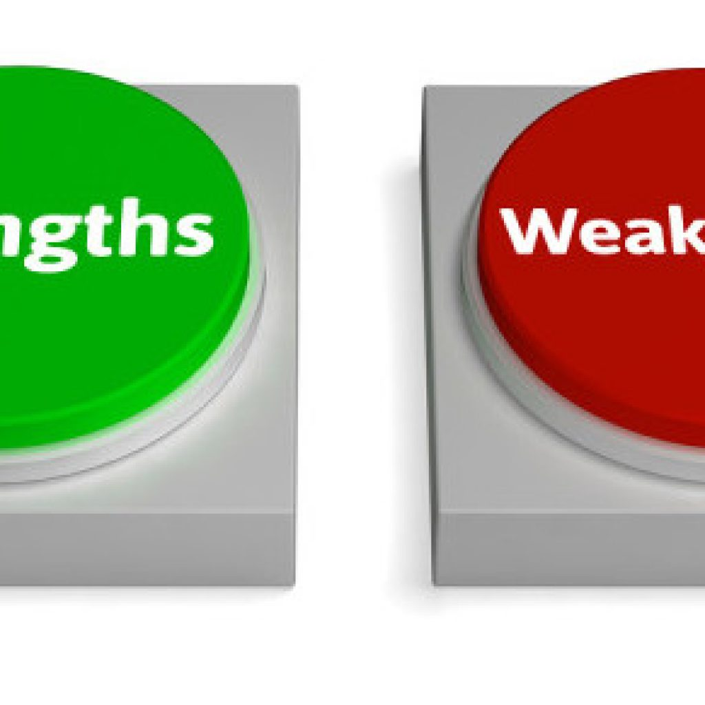 strengths and weaknesses of the current Distinguish between strengths and weaknesses  my current take on the whole strength and weakness issue is to understand both and see what you can do with them.